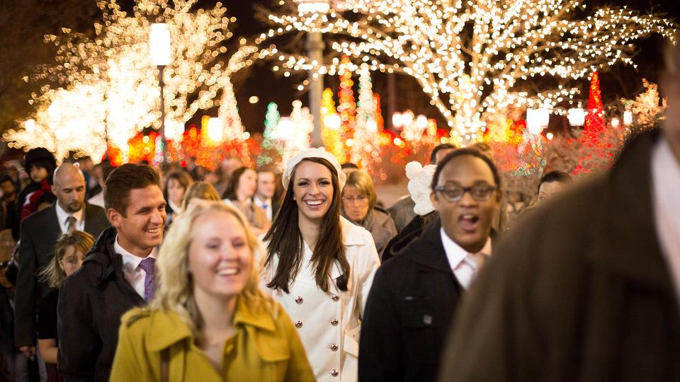 Image result for temple square christmas crowd
